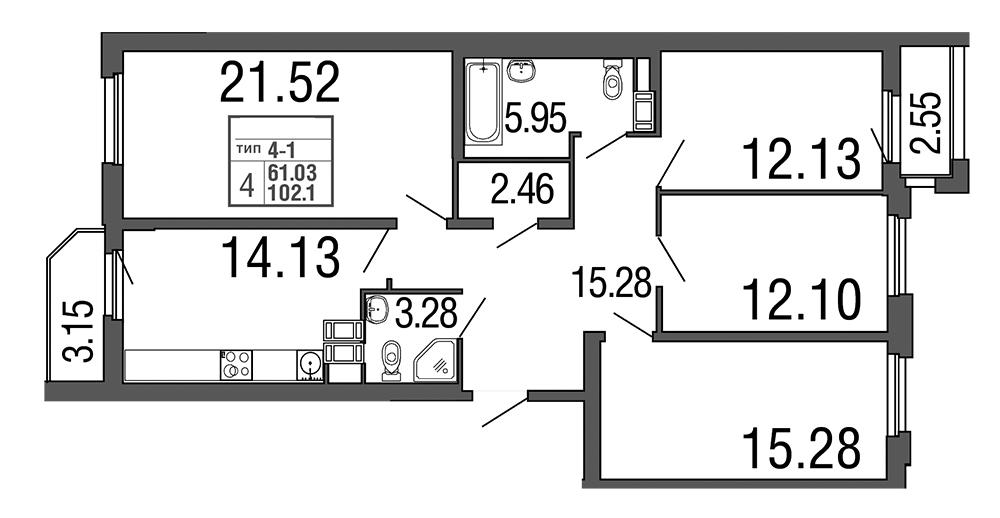 Планировка Четырёхкомнатная квартира площадью 102.1 кв.м в ЖК «Дом на набережной»