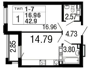 Планировка Однокомнатная квартира площадью 42.9 кв.м в ЖК «Дом на набережной»