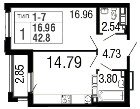 Планировка Однокомнатная квартира площадью 42.8 кв.м в ЖК «Дом на набережной»