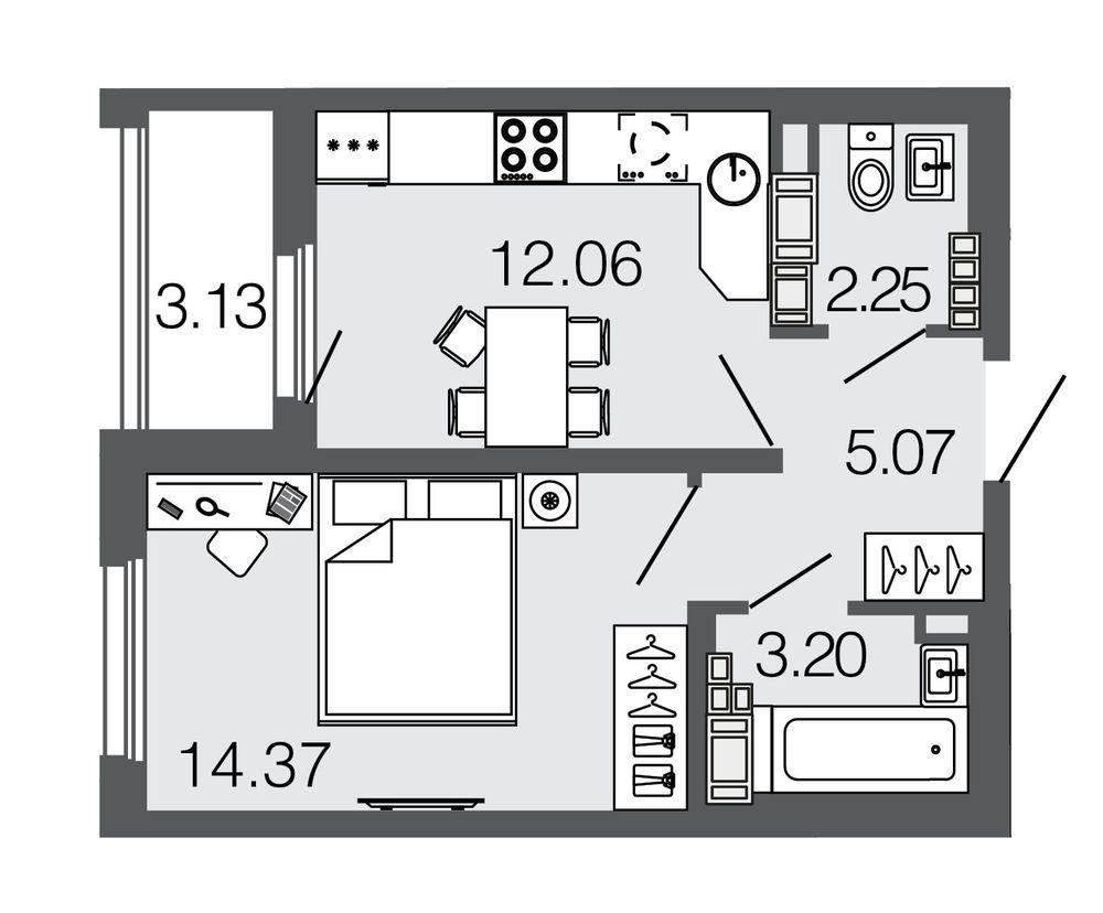 Планировка Однокомнатная квартира площадью 37 кв.м в ЖК ««Дом на набережной»»