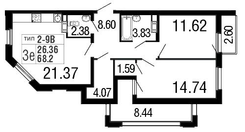 Планировка Двухкомнатная квартира площадью 68.2 кв.м в ЖК «Дом на набережной»