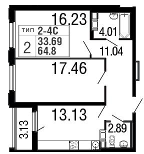 Планировка Двухкомнатная квартира площадью 64.8 кв.м в ЖК «Дом на набережной»