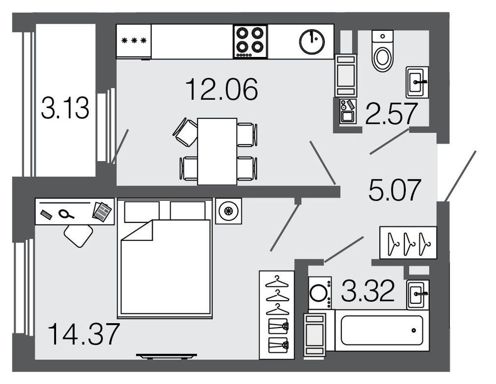 Планировка Однокомнатная квартира площадью 37.4 кв.м в ЖК ««Дом на набережной»»