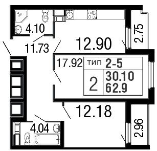 Планировка Двухкомнатная квартира площадью 64.1 кв.м в ЖК «Дом на набережной»