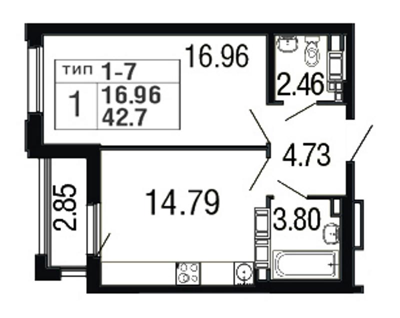 Планировка Однокомнатная квартира площадью 42.7 кв.м в ЖК «Дом на набережной»