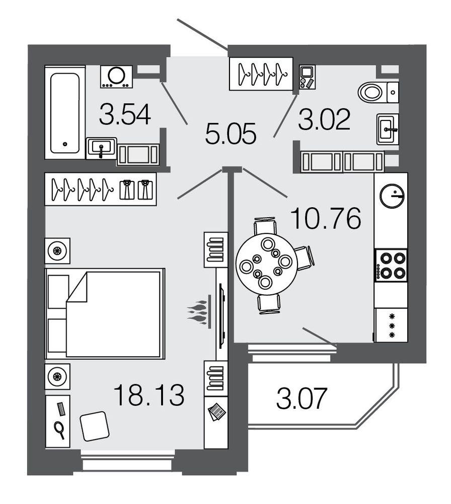 Планировка Однокомнатная квартира площадью 40.5 кв.м в ЖК ««Дом на набережной»»