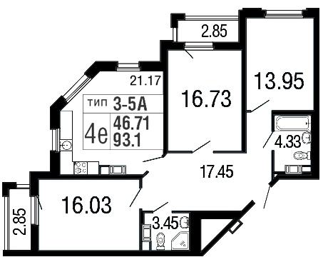 Планировка Трёхкомнатная квартира площадью 93.1 кв.м в ЖК «Дом на набережной»