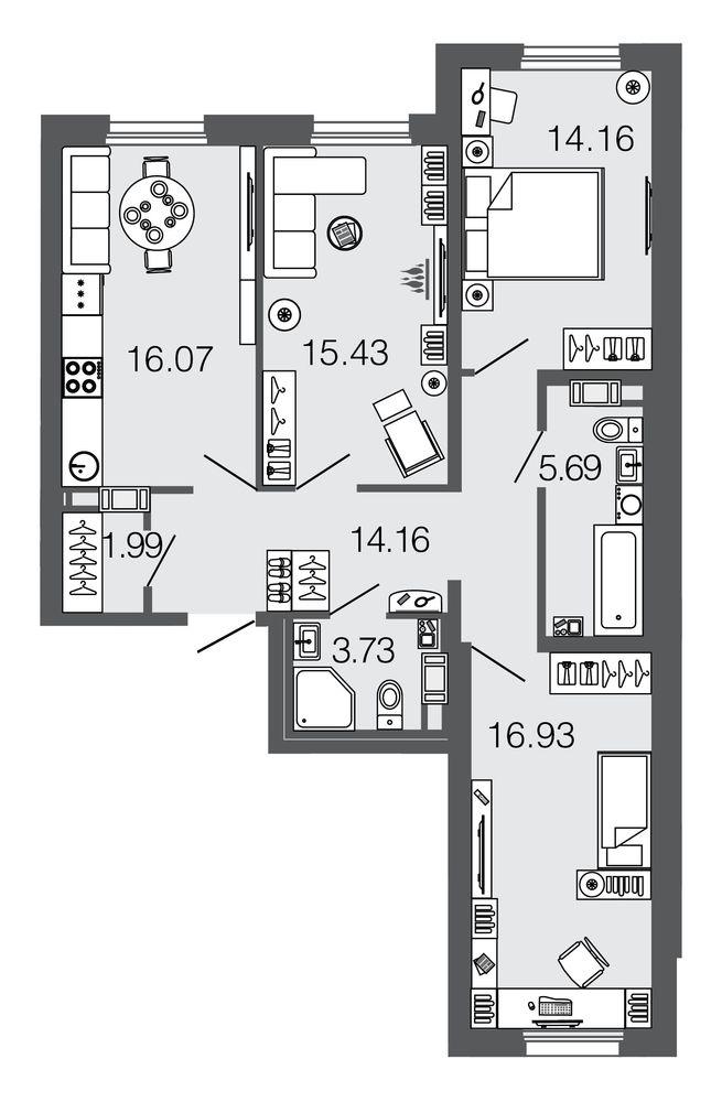 Планировка Трёхкомнатная квартира площадью 88.2 кв.м в ЖК ««Дом на набережной»»