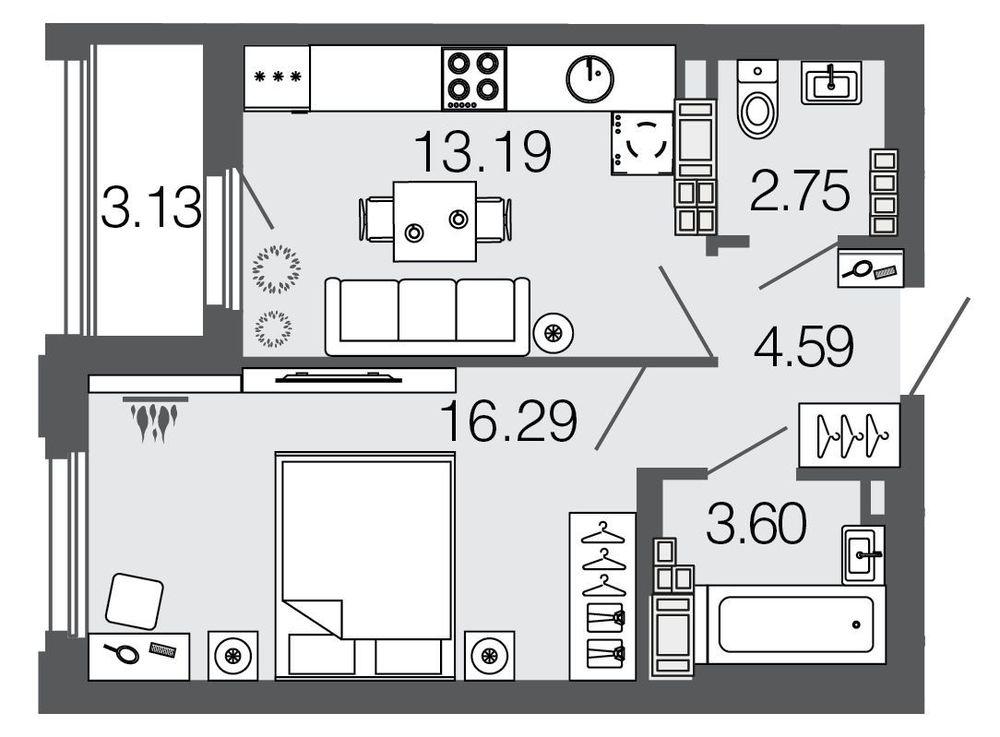 Планировка Однокомнатная квартира площадью 40.4 кв.м в ЖК ««Дом на набережной»»